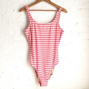J. Crew pink striped one piece swimsuit